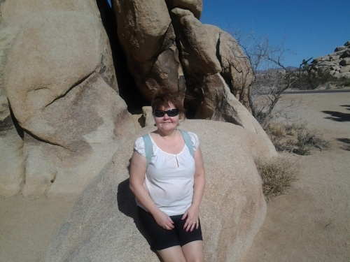 Candace by some rocks at Joshua Tree National Park