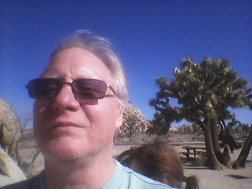 Me, Joshua Tree in background. Notice how blue the sky!