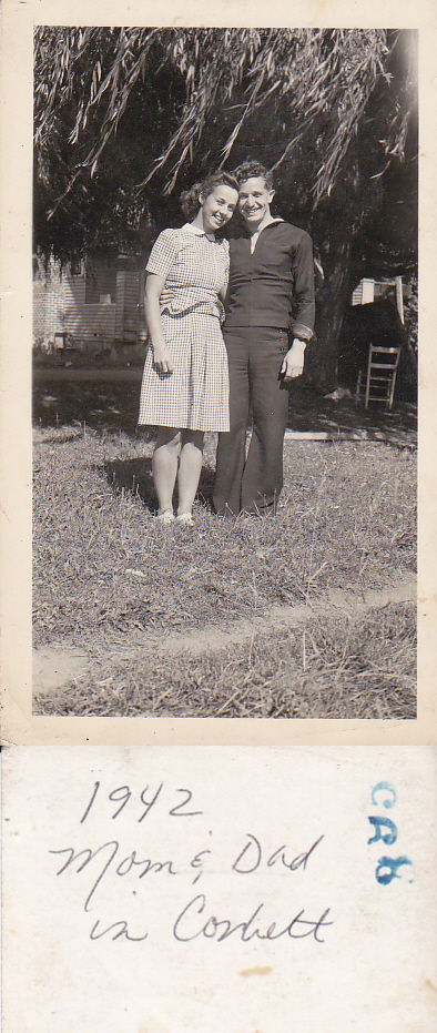 Mom and dad in Corbett, 1942